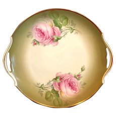 Hand Painted Rose Floral Handled Serving Plate