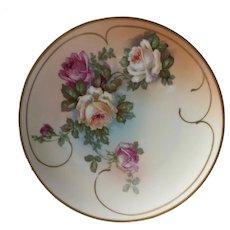 Decorative rose with gold trim and swirl plate. Austria HUB mark