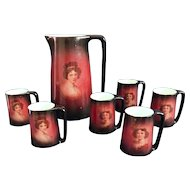"""Ladies of the Evening"" women's portrait Hot Chocolate/Cider Pitcher with 6 handled mugs. Warwick IOGA"
