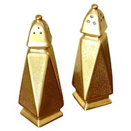 Pickard Gold Encrusted Art Deco Shaped Salt and Pepper Set
