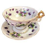 Saji Fancy China Sweet Violet Large Cup & Saucer