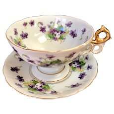 Saji Fancy China Sweet Violet Large Cup & Saucer