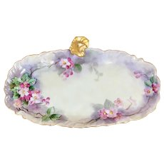 Antique Wm Guerin, Limoges, France Porcelain Apple Blossom Glove/Lemon Tray