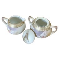 R.S. Germany (Reinhold Schlegelmilch) Art Deco German Porcelain Sugar Creamer Set floral with gold band