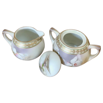 R.S. Germany (Reinhold Schlegelmilch) Art Deco German Porcelain Sugar Creamer Set floral with gold band