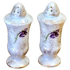Vintage Kelvin Fine China Violet Gold Glitter Salt & Pepper