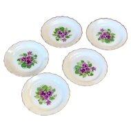 Vintage Japan Violet Gold Rimmed Saucers (5)