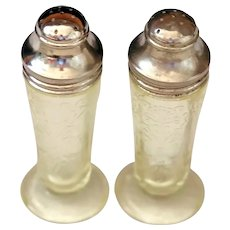 Depression Glass Florentine #2/Poppy Yellow Salt & Pepper Shakers