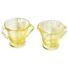 Depression Glass Florentine #2/Poppy Yellow Creamer and Sugar