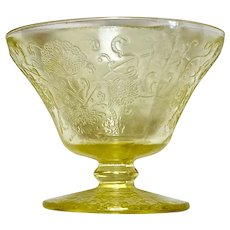 Depression Glass Florentine #2/Poppy Yellow Sherbet or Champagne Glasses (2)