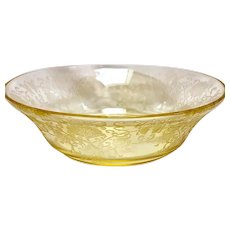 "Depression Glass Florentine #2/Poppy Yellow Large Fruit Bowl 8"""