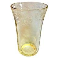Depression Glass Florentine 2/Poppy Yellow Flat Iced Tea Glasses