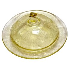 Depression Glass Florentine #2/Poppy Yellow Covered Butter Dish