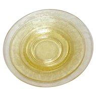 "Depression Glass Florentine #2/Poppy Yellow Dinner Plates 10"""
