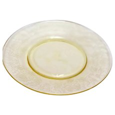 "Depression Glass Florentine 2/Poppy Yellow Salad Plates (8"")"