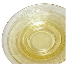 Depression Glass Florentine #2/Poppy Yellow Bread & Butter Plates 6""