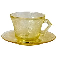 Depression Glass (2) Florentine #2/Poppy Cup & Saucers