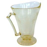 Depression Glass Florentine #2/Poppy Yellow Footed Pitcher 24 Oz