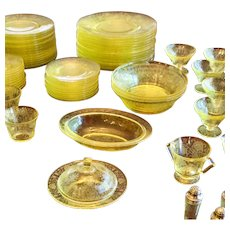Table Setting for 8 Hazel Atlas Florentine 2/Poppy Yellow Depression Glass Dinnerware
