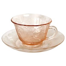 Depression Glass Pink Dogwood Cup & Saucer(2) 4 pieces