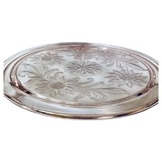 Jeannette Pink Depression Glass Sunflower 3-Footed Cake Plate
