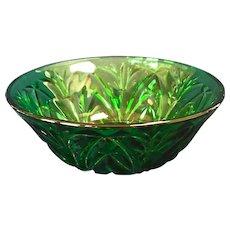 Vintage Green Glass Berry, Dessert Bowls (4)