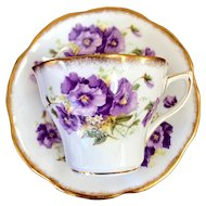 Vintage Rosina Bone China Violet Floral Teacup and Saucer Set #5093