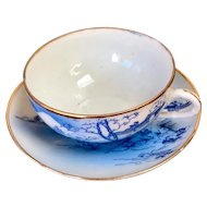 Vintage Japanese Blue White Mt Fuji Scene Gold-rimmed Teacup