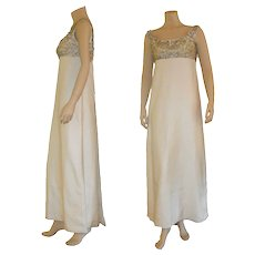 Circa 1960's Beaded Ivory silk Evening Gown