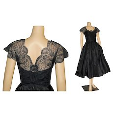 1950's Chantilly Lace and Bows Full Circle Dress from I. Magnin