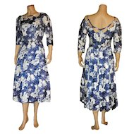 1950's Blue Floral Day Dress by Elinor Gay