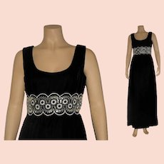 Vintage 1960's Luxurious Black Velvet and Sequin Evening Gown