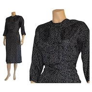 Vintage 1950's Navy Shantung Silk Swiss Polka Dot Day Dress