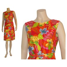 Bright & bold 1960's Combed Weft Sateen Hawaiian Sheath Dress