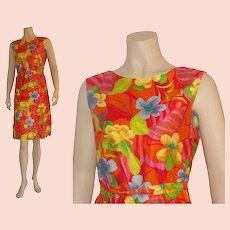 Bright & bold 1960's Combed Weft Sateen Hawaiian Sheath Dress