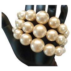 Vintage 1950's Faux Pearl Coil Bracelet