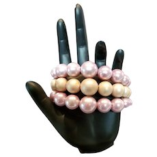 Vintage 1940's Faux Pink Pearl Coil Bracelet
