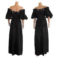 1970's Black Off Shoulder Cutout Maxi Dress