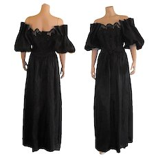 1970's Black Off Shoulder Cutout Maxi Dress