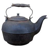 1866 Cast Iron Kettle J.F. Rathbone, Albany NY, Antique Teakettle New York Foundry