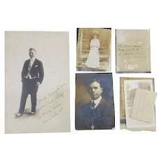 1907 Orson Battling Nelson Signed Photo Lot, Lightweight Boxing Champion