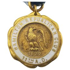 1922 Hamilton Republican Club Membership Drive Medal Badge Dieges & Clust Gold Plated FREE SHIPPING