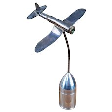1944 WWII Trench Art - F4U Corsair Fighter - Silver Plated - 50 Cal Shell, Des Moines Ordnance Plant - Free Shipping!!