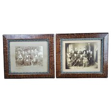 2 Antique Victorian Framed Cabinet Card Photos- Allman Family of Madison Indiana People/Children Group Photograph