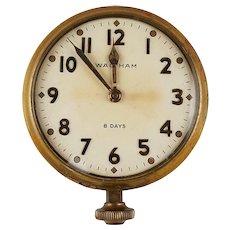 1937 Waltham Automobile Dash Clock - 8 Day - Brass - Vintage - Runs