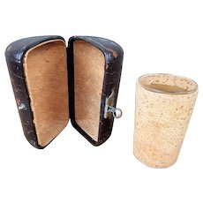Antique Travel Drinking/Shot Glass, Cork And Leather Case