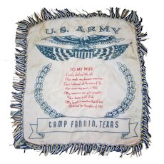 Camp Fannin WWII Sweetheart Pillowcase- Tyler, Texas POW Camp