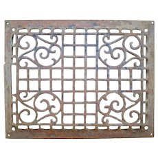 Antique Cast Iron Wall Vent Register Grate with Ornate Scrolls