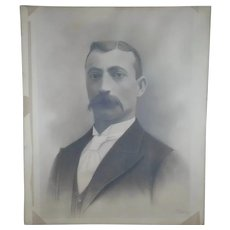 """Antique 1894 Charcoal Portrait Man With Mustache by 20""""x24"""" J.E. Hulse FREE SHIPPING!"""