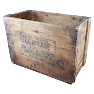 Antique Fly Spray Crate - Cow Ease - Boston MA - Carpenter Morton - Cattle & Horses - Wooden Shipping Box - Free Shipping!!